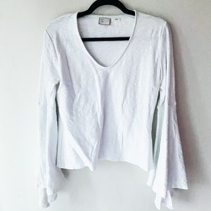 White blouse with flutter sleeve